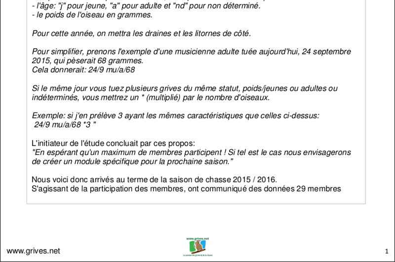 Poids des grives - évolution saison 2015/2016