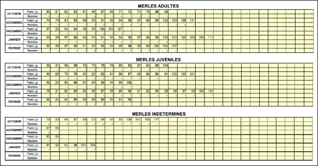 Tableaux de calculs - poids et age des grives 2015/2016