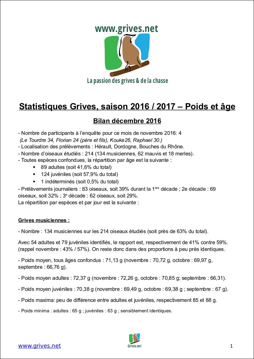 Poids et âge des grives - Bilan Décembre 2016