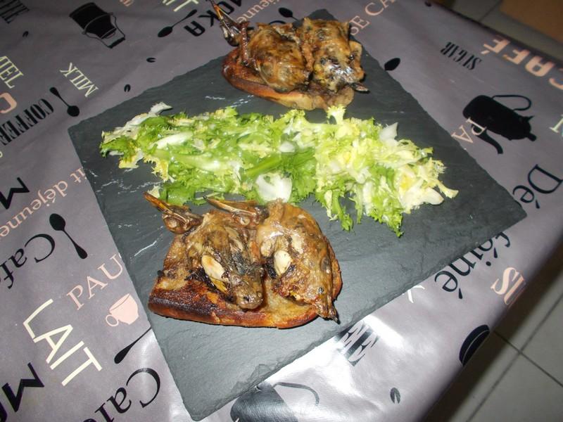 recette des grives bati-bati, présentation finale