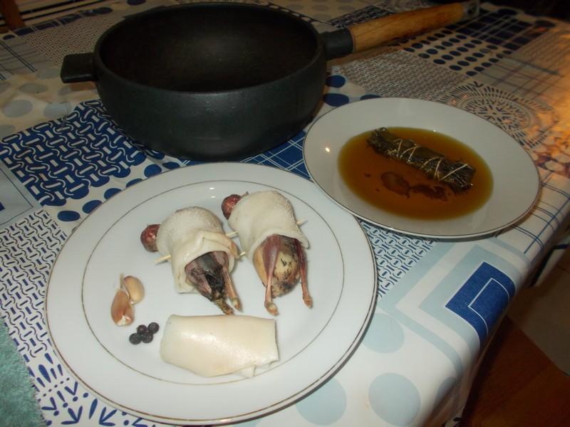 Grives marinées à l'huile de bocal de sanguins - Ingrédients