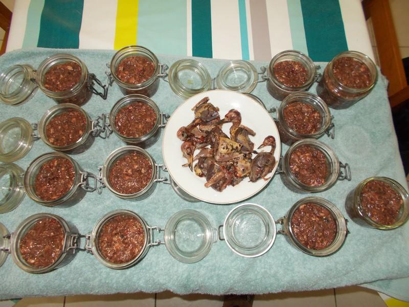 Recette pâté de grive - Mise en bocaux
