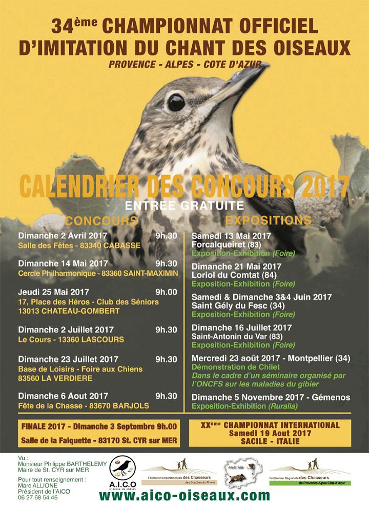 Calendrier concours de chilet de l' AICO 2017
