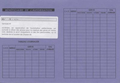carnet de prélèvement pour la capture des grives vivantes