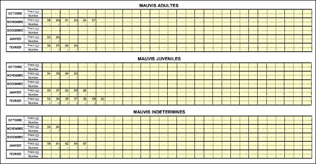 Tableaux de calculs - poids et age des grives